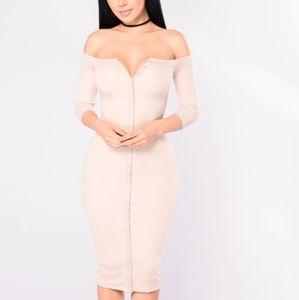 Beige off shoulder dress